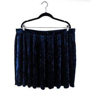 Forever 21+ - Blue Crushed Velvet Skater Skirt EUC